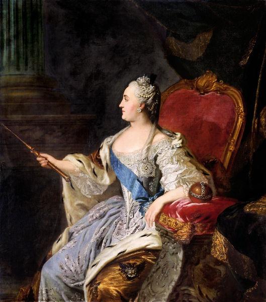 Ecaterina a II-a (de asemenea cunoscută şi ca Ecaterina cea Mare, n. 2 mai [ S.V. 21 aprilie] 1729, Stettin (Szczecin), d. Polonia — 6 noiembrie 1796, Sankt-Petersburg, Rusia) născută Sophie Augusta Fredericka de Anhalt-Zerbst, a fost împărăteasă a Rusiei de la 9 iulie 1762 (stil nou) după asasinarea soţului ei, Petru al III-lea al Rusiei, până la moartea ei, la 17 noiembrie 1796 (stil nou) - Oil on canvas portrait of Empress Catherine the Great by Russian painter Fyodor Rokotov - foto preluat de pe ro.wikipedia.org