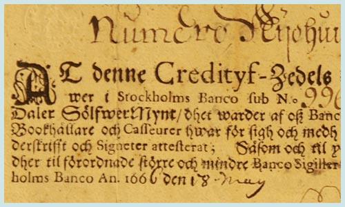 """16 iulie 1661: Banca suedeză """"Stockholms Banco"""" emite primele bancnote din Europa. Acestea au purtat numele de Kreditivsedlar - foto: historia.ro"""