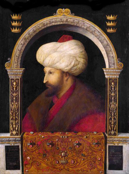 Mahomed al II-lea (cunoscut sub numele de Fatih Sultan Mehmed (Sultanul Mahomed Cuceritorul), scurt Fâtih (Cuceritorul); în Europa recunoscut sub numele de Grand Turco sau Turcarum Imperator; n. 30 martie 1432, Edirne, Imperiul Otoman – d. 3 mai 1481, Gebze, Turcia) a fost al şaptelea sultan al Imperiului Otoman. El a domnit între 1444 şi 1446, şi între 1451 până la moartea sa. La 29 mai 1453, el a cucerit Constantinopolul, închizând astfel sfârşitul Imperiului Bizantin. A fost cel de-al treilea fiu al sultanului Murad al II-lea, a ajuns sultan la vârsta de 12 ani. A fost unul dintre cei mai puternici sultani din istoria Imperiului Otoman. - pictură din 1507 a lui Gentile Bellini - foto preluat de pe ro.wikipedia.org