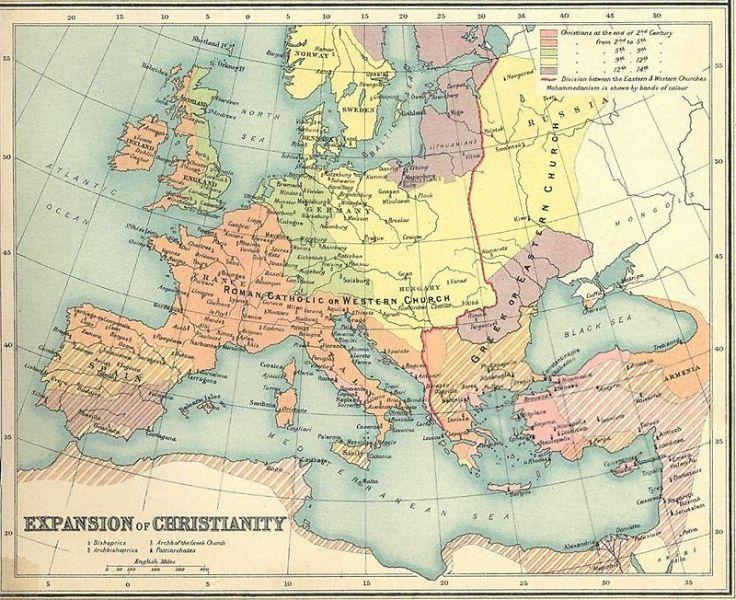 Europa dupǎ Marea Schismă (16 iulie 1054), împǎrțitǎ între ortodocși (albastru) și catolici (portocaliu) - foto preluat de pe en.wikipedia.org