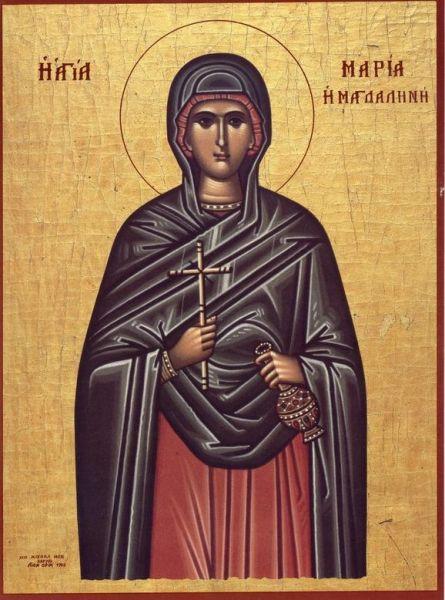 Sfânta și slăvita mironosiţă Maria Magdalena, cea întocmai-cu-Apostolii a fost o ucenică a lui Hristos, numită Maria din Magdala (o cetate din Galileea). Prăznuirea ei se face pe 22 iulie și, împreună cu celelalte femei, în Duminica Femeilor Mironosiţe. În cinstea ei a fost scris și un acatist - foto: doxologia.ro