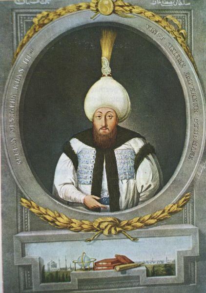 Mustafa al III-lea (n. 28 ianuarie 1717; d. 21 ianuarie 1774) a fost între 1757 - 1774, sultan al Imperiului Otoman. El a fost fiul lui Ahmed al III-lea. Mustafa a fost un monarh energic care a căutat să modernizeze armata otomană. Această politică provoacă nemulțumirea ienicerilor și imamilor. În timpul lui a luat ființă academia de matematică, navigație și științe naturale. Mustafa fiind conștient de slăbirea puterii trupelor otomane, caută evitarea războaielor. Însă după anexarea de către Ecaterina cea Mare a peninsulei Crimeea, declară război Rusiei, urmarea fiind Războiul Ruso-Turc din 1768–1774 - foto preluat de pe en.wikipedia.org