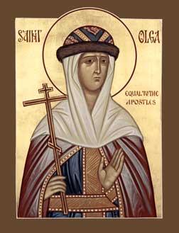 Sfânta și dreapta prințesă Olga din Kiev (890 - † 969) a fost bunica prințului Vladimir din Kiev. Ea a fost prima între conducătorii poporului rus care s-a convertit la creștinismul ortodox, la Constantinopol în anul 957; sub influența ei nepotul Vladimir s-a convertit și el la creștinism și a adus Ortodoxia în Rusia. Prăznuirea ei în Biserica Ortodoxă se face la 11 iulie - foto: ro.orthodoxwiki.org