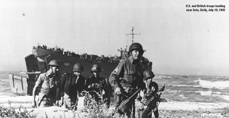 American and British troops landing near Gela, Sicily, July 10, 1943 - foto: en.wikipedia.org