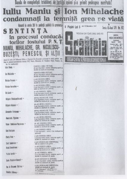 Sentinţa procesului liderilor PNŢ, publicată în ziarul Scânteia la 13 noiembrie 1947 - foto: ro.wikipedia.org
