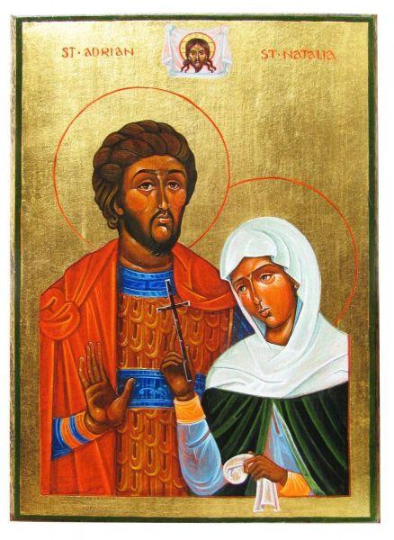 Sfinții mucenici Adrian și soția sa Natalia au trăit în Nicomidia (Asia Mică); ei și-au dat viața pentru credința creștină la începutul secolului al IV-lea. Prăznuirea lor în Biserica Ortodoxă este pe 26 august - foto: doxologia.ro