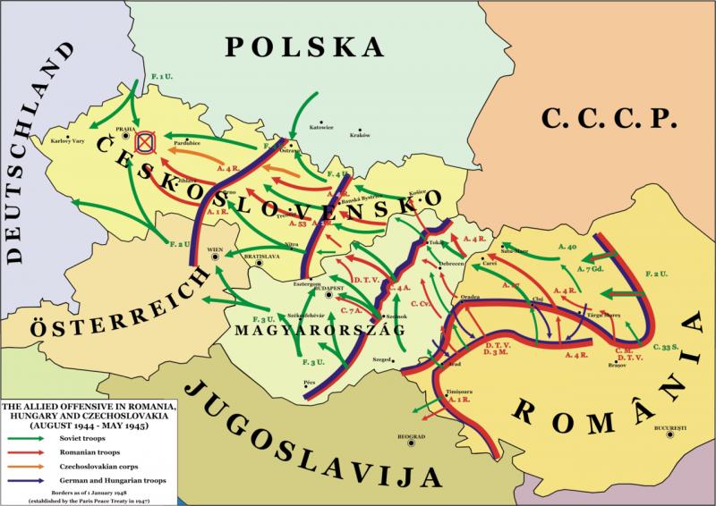 Forţele române pe frontul de vest - În roşu, campania trupelor române de partea Aliaţilor, alături de trupele sovietice (verde) şi cehoslovace (portocaliu), între 24 august 1944 şi 7 mai 1945 - foto preluat de pe ro.wikipedia.org