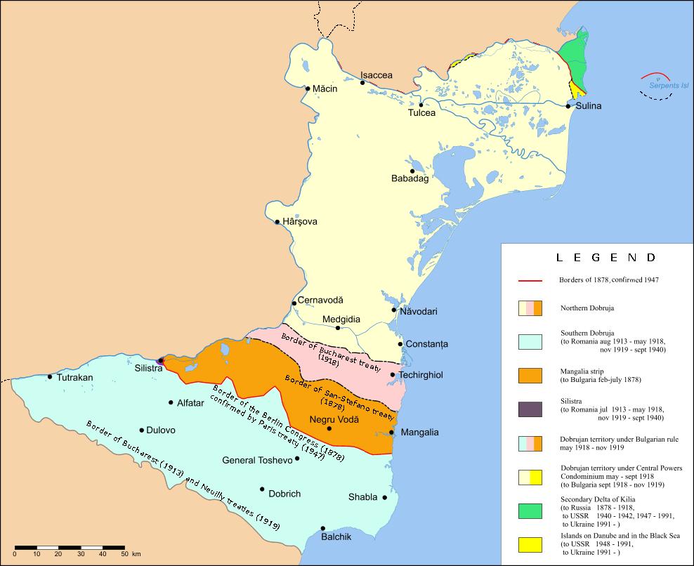 Diferite împărțiri ale Dobrogei între România și Bulgaria - foto preluat de pe ro.wikipedia.org