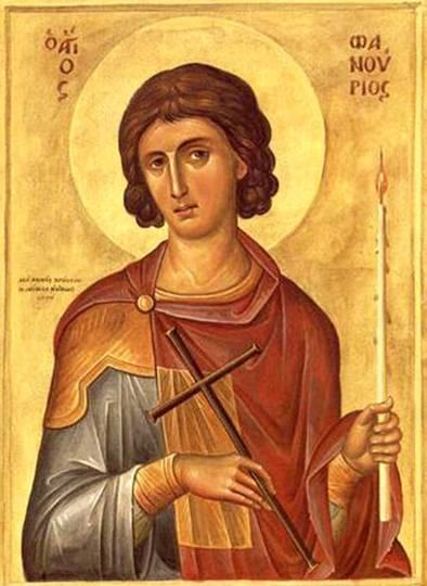 Sfântul Mucenic Fanurie este un sfânt mucenic popular în Bisericile Ortodoxe din Răsărit, care s-a nevoit în primele secole creștine, după tradiţie, în insula Rodos - Grecia, de unde se crede că era de loc. Prăznuirea lui se face la 27 august - foto: ro.orthodoxwiki.org