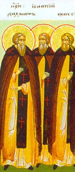 Sfinţii Cuvioşi Isaachie, Dalmat şi Faust. Prăznuirea lor de către Biserica Ortodoxă se face la data de 3 august - foto: doxologia.ro