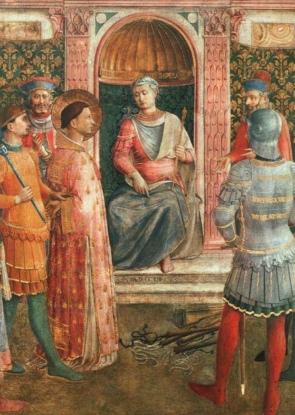 Lawrence before Valerianus, detail from a fresco by Bl. Fra Angelico, c. 1447–50, Pinacoteca Vaticana - foto preluat de pe en.wikipedia.org
