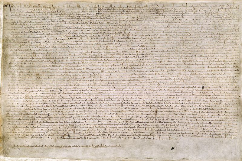 An original version of Magna Carta, agreed by John and the barons in 1215 - foto preluat de pe en.wikipedia.org