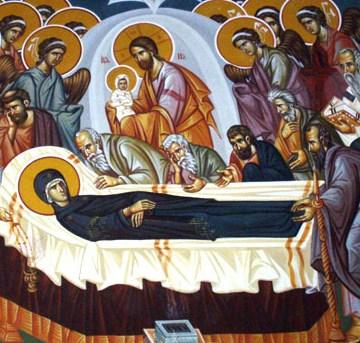 """Adormirea Maicii Domnului este unul din Praznicele Împărătești ale Bisericii Ortodoxe, sărbătorită pe 15 august. Această sărbătoare comemorează moartea, învierea și slăvirea Maicii Mântuitorului. Sărbătoarea mărturisește că Maica Domnului """"a fost luată"""" de Dumnezeu în împărăția cerească a lui Hristos, în deplinătatea vieții ei sufletești și trupești - foto: basilica.ro"""