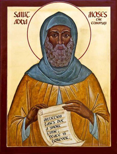 Sfântul Cuvios Moise Etiopianul.  Prăznuirea sa de către Biserica Ortodoxă se face la data de 28 august - foto: doxologia.ro/