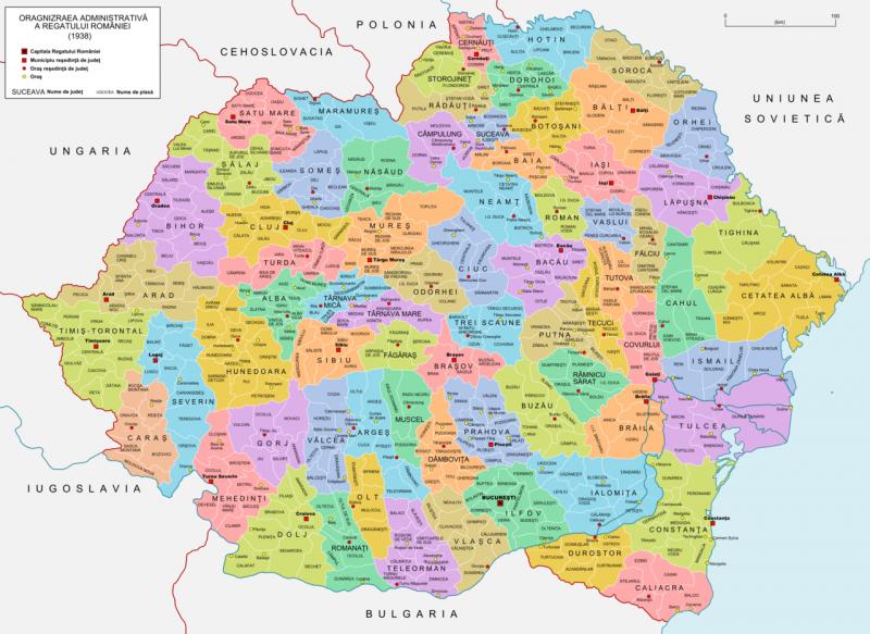 Județele, orașele și plasele Regatului României, 1938 - foto preluat de pe ro.wikipedia.org