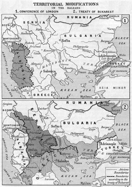Tratatul de la București (1913) Modificări teritoriale - 1 Conferința de la Londra; 2 Tratatul de la București (1913) - foto: ro.wikipedia.org