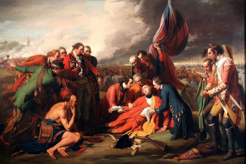 """Bătălia de la Câmpul lui Abraham (13 septembrie 1759) - Parte a """"Războiului de Șapte Ani"""" (1756 – 1763) - (""""Moartea Generalului Wolfe"""" de Benjamin West. Ulei pe pânză, 1770) - foto preluat de pe ro.wikipedia.org"""