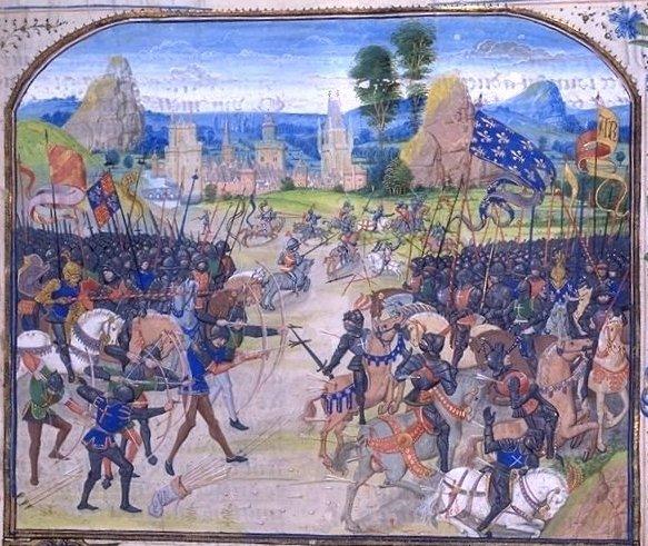 Bătălia de la Poitiers (19 septembrie, 1356) Ilustrație din secolul al XIV-lea, de Jean Froissart - foto preluat de pe ro.wikipedia.org