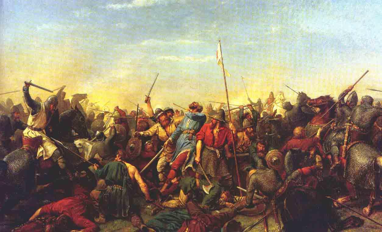 Bătălia de la Stamford Bridge (25 septembrie 1066), parte a invaziei vikinge a Angliei, Pictură a artistului norvegian Peter Nicolai Arbo (1831–1892) - foto preluat de pe ro.wikipedia.org