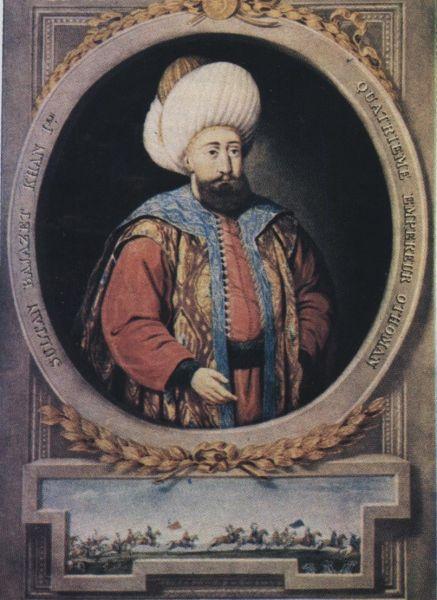 """Baiazid I (n. cca. 1354/1360, d. 8 martie 1403; Bayezıt, poreclit Yıldırım, """"trăznetull"""" din cauza personalității puternice, dar și datorită victoriilor și rapidității de mișcare) a fost un sultan al Imperiului Otoman din 1389 până în 1402. El a fost fiul lui Murad I și al lui Gülçiçek Hatun care era la origine grecoaică - foto: en.wikipedia.org"""