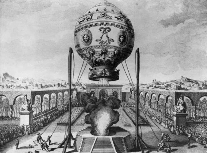 Balon cu aer cald al Fraţilor Montgolfier la 19 Octombrie 1783 - foto: ro.wikipedia.org