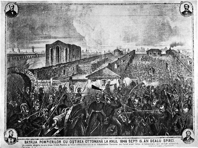 Bătălia din Dealul Spirii (13 septembrie 1848) - Parte a Revoluției de la 1848 - (Litografie reprezentând lupta pompierilor din București cu Armata Turca a lui Kerim Pașa, in Dealul Spirii, la 13 septembrie 1848) - foto preluat de pe ro.wikipedia.org