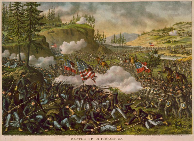 Bătălia de pe Chickamauga (19–20 septembrie 1863) - litografie de Kurz și Allison, 1890 - foto preluat de pe ro.wikipedia.org