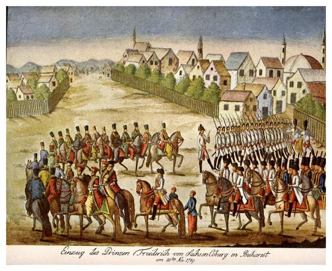 Trupe austriece conduse de feldmareşalul Frederic Josias de Saxa Coburg intră în Bucureşti, 1789 - foto: ro.wikipedia.org