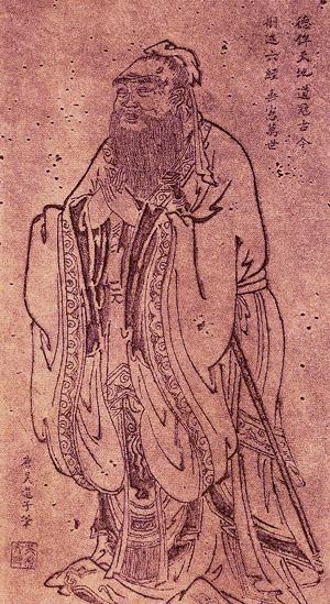 Confucius (sau Kong Fu Zi, n. 550 î.Hr.; d. 478 î.Hr.) a fost un filozof chinez, născut în regiunea Lu, filozof care a influențat decisiv gândirea asiatică - in imagine, A portrait of Confucius by the Tang dynasty artist Wu Daozi (680–740) - foto: en.wikipedia.org