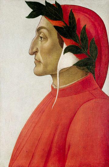 """Durante degli Alighieri (Dante Alighieri) (n. 29 mai 1265, Florența - d. 14 septembrie 1321, Ravenna) a fost un poet și filozof italian, om politic florentin, cel mai mare scriitor european din Evul Mediu. Autor al """"Divinei Comedii"""", capodoperă a literaturii universale, Dante este primul mare poet de limbă italiană, Sommo Poeta (""""poet în cel mai înalt grad"""") - in imagine, Dante Alighieri - portret de Sandro Botticelli - foto: en.wikipedia.org"""