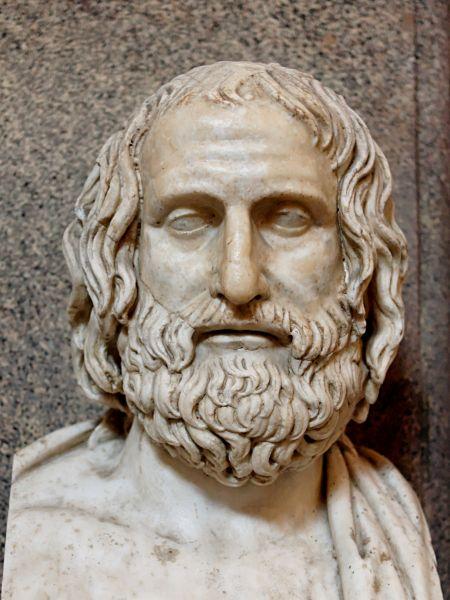 """Euripide (în greacă Εὐριπίδης; n. 480 î.Hr. - d. 406 î.Hr.) a fost un poet tragic grec. Aristotel l-a supranumit """"poetul tragic prin excelenţă"""" - foto: ro.wikipedia.org"""