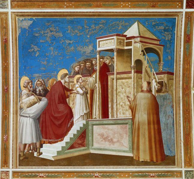 Giotto, Aducerea Fecioarei Maria în Templul din Ierusalim - foto preluat de pe ro.wikipedia.org