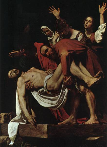 """""""Punerea în mormânt"""", (Caravaggio, 1602-1603) - foto preluat de pe ro.wikipedia.org"""