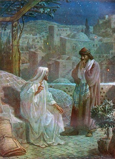 Nicodemus (right) talking to Jesus, by William Brassey Hole, (1846–1917) - foto: en.wikipedia.org