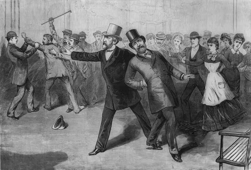 Garfield, shot by Charles J. Guiteau, collapses as Secretary of State Blaine gestures for help. Engraving from Frank Leslie's Illustrated Newspaper - foto: en.wikipedia.org