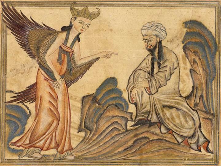 Mahomed (transliterat: Muḥammad; n. cca. 570, Mecca; d. 8 iunie 632, Medina) este întemeietorul religiei islamice și este considerat, de către musulmani, a fi un mesager și un profet al lui Dumnezeu, ultimul profet într-o serie de profeți islamici, așa cum se spune în Coran - in imagine, A depiction of Muhammad receiving his first revelation from the angel Gabriel. From the manuscript Jami' al-tawarikh by Rashid-al-Din Hamadani, 1307, Ilkhanate period - foto preluat de pe en.wikipedia.org
