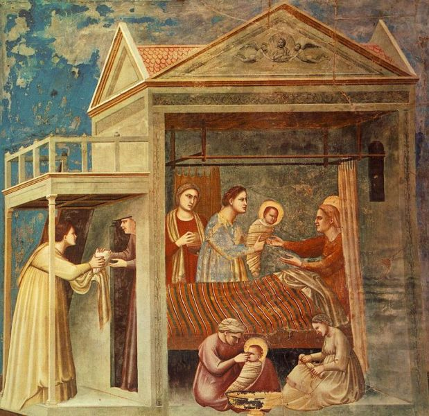 The Birth of the Blessed Virgin Mary by Giotto, in the Scrovegni Chapel Padua, Italy (circa 1305) - foto preluat de pe en.wikipedia.org