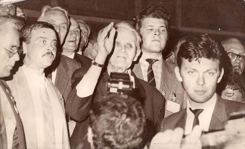 Congres PNTCD 1991 - Corneliu Coposu, Ion Diaconescu, Ionut Gherasim, Horia Luputiu - foto: corneliu-coposu.eu