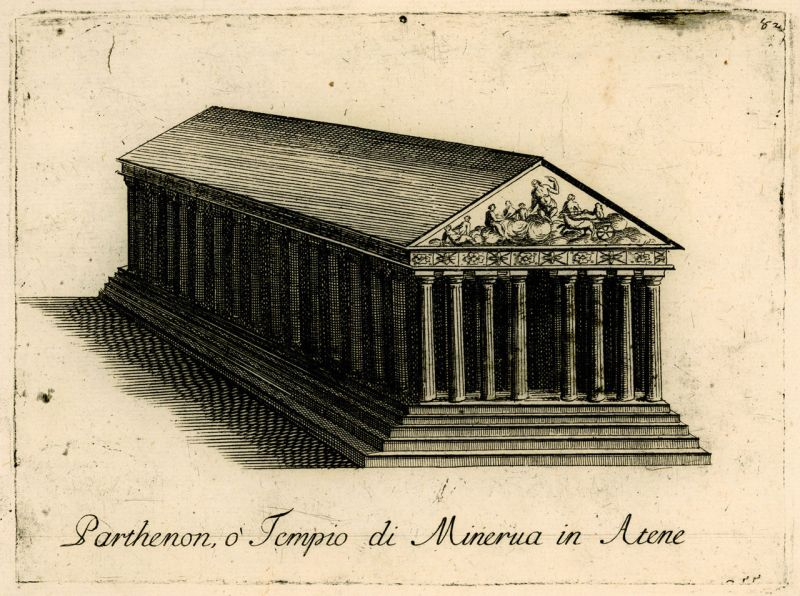 Parthenon illustration, published in 1688, depicting the structure in its entirety, by Vincenzo Coronelli - foto: en.wikipedia.org