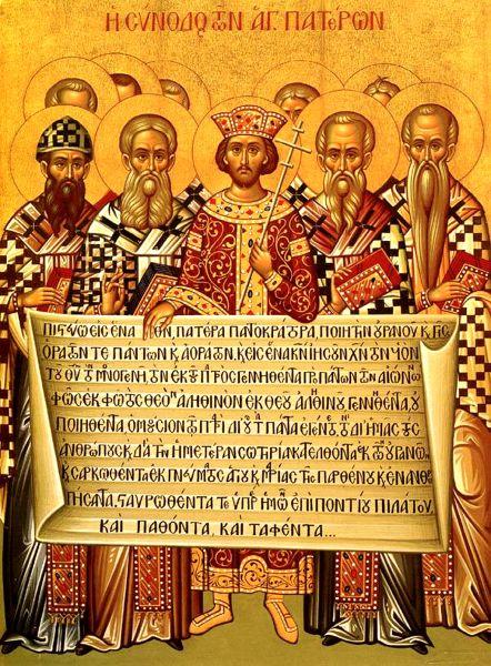 Icoană reprezentând Sinodul I Ecumenic de la Niceea, din anul 325 - foto preluat de pe ro.wikipedia.org
