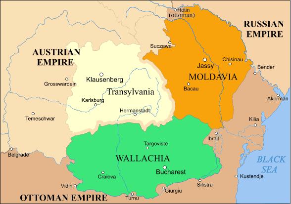 Moldova (în portocaliu) şi Țara Românească (verde), între 1793 şi 1812 - foto: preluat de pe ro.wikipedia.org