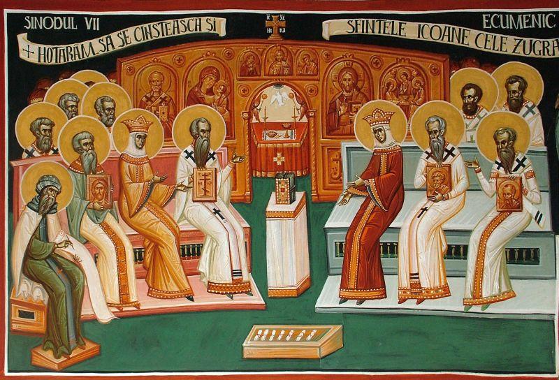 Sinodul al VII-lea ecumenic s-a reunit la Niceea (provincia Bitinia, Asia Mică) între 24 septembrie şi 13 octombrie 787, la iniţiativa împărătesei regente Irina. Cunoscut şi sub numele de Sinodul al doilea de la Niceea, acest sinod ecumenic a adunat 350 de episcopi ortodocşi[1] și a fost prezidat de Sf. Tarasie Mărturisitorul (prăznuit la 25 februarie), Patriarh al Constantinopolului în acea vreme. Sinodul a condamnat iconoclasmul ca erezie şi a restabilit cultul sfintelor icoane. A fost ultimul din cele şapte sinoade ecumenice - foto: ortodoxcrestin.com