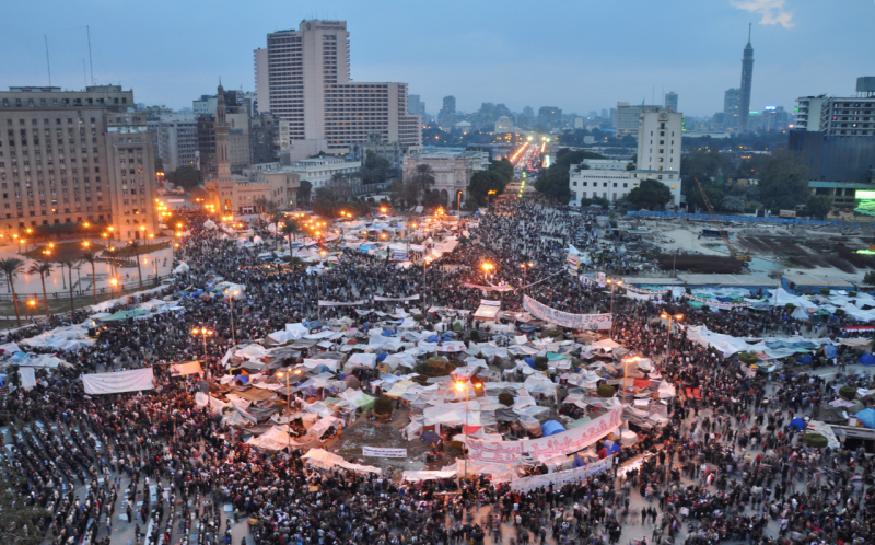Massive protests centered on Cairo's Tahrir Square led to Mubarak's resignation in February 2011 - foto: en.wikipedia.org