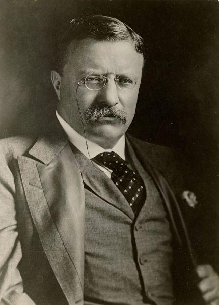 Theodore Roosevelt, Jr. (27 octombrie 1858 - 6 ianuarie 1919), cunoscut de asemenea ca T.R. sau Teddy (publicului larg, dar niciodată celor apropiați sau familiei), a fost cel de-al douăzeci și cincilea vicepreședinte și cel de-al douăzeci și șaselea președinte al Statelor Unite ale Americii servind două mandate între anii 1901 și 1909. A fost cel de-al 25-lea vicepreședinte al Statelor Unite înainte de a deveni președinte în urma asasinării președintelui William McKinley. Prin depunerea jurământului de președinte la 42 de ani, Theodore Roosevelt a devenit (și a rămas până în ziua de azi) cel mai tânăr președinte din istoria Statelor Unite - foto preluat de pe ro.wikipedia.org