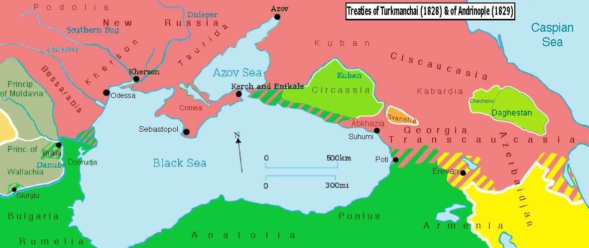 Schimbările teritoriale rezultate în urma tratatului de la Adrianopol (2/14 septembrie 1829) - foto preluat de pe ro.wikipedia.org