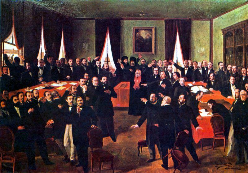 """""""Proclamarea Unirii"""" (24 ianuarie 1859) de Theodor Aman - foto preluat de pe ro.wikipedia.org"""