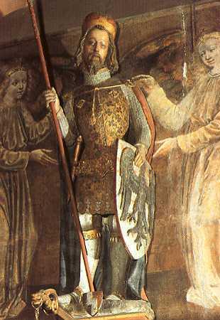 Venceslau I (c. 907 &ndash 28 septembrie 935), Wenceslas I sau Venceslau cel Bun, a fost ducele (kníže) Boemiei din anul 921 și până la asasinarea sa în anul 935, în urma unui complot pus la cale de fratele său, Boleslau cel Crud - in imagine, Statuia Sfântului Venceslau din Catedrala Sf. Vitus din Praga. Capul statuii a fost realizat după măsurarea craniului lui Venceslau - foto: ro.wikipedia.org