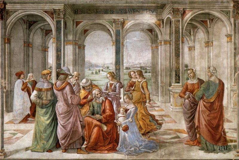 Domenico Ghirlandaio's fresco Zechariah Writes Down the Name of His Son (1490, fresco in the Tornabuoni Chapel, Florence) - foto preluat de pe en.wikipedia.org