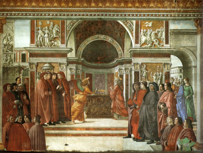 Annunciation of the Angel to Zechariah by Domenico Ghirlandaio (1490, fresco in the Tornabuoni Chapel, Florence) - foto preluat de pe en.wikipedia.org