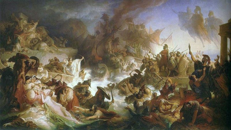 """Battle of Salamis"" (September, 480 BC) Part of the Greco-Persian Wars - A romantic version painting of the battle by artist Wilhelm von Kaulbach (1868) - foto preluat de pe en.wikipedia.org"